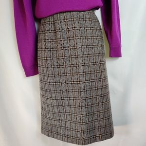 Vintage Pendleton plaid skirt size 12P gray tans